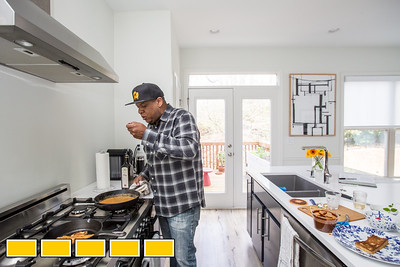 "Chef Todd Richards has his first cookbook ""Soul"" now available.  The beautiful hardback is filled with families stories, food recipes and great photography.  Richards makes Shrimp Hot Chicken-Style at his Atlanta home.  (Jenni Girtman / Atlanta Event Photography)"