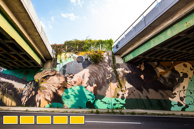Under the Eastside Trail of the Beltline is this new mural on North Ave.  The Beltline continuing to evolve with new art installations, murals and sculptures, both commissioned and non-commissioned, formal Beltline art and area business creations.  (Jenni Girtman / Atlanta Event Photography)