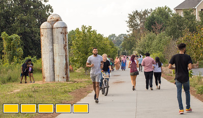"""The Eastside Beltline is continuing to evolve with new art installations, murals and sculptures.  Mike Wsol now has a sculpture titled """"In between"""" along the path in Virginia Highlands.  (Jenni Girtman / Atlanta Event Photography)"""