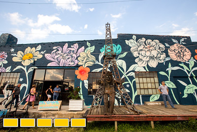The Eastside Beltline benefits from projects like the OuterSpace series, which produced this mural by Detroit-based artist Ouizi at Paris on Ponce.  The Beltline is continuing to evolve with new art installations, murals and sculptures.  (Jenni Girtman / Atlanta Event Photography)