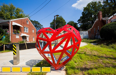 The Westside Trail of the Beltline from Adair Park to Washington Park is now officially open.  This access point to the trail come from Stafford Stree and Jasper Street and includes Matthew Duffy's Polygon Heart Sculpture.  The path has original sculpture, art and murals already along the path as well lighting and security cameras all along the newly opened trail.  (Jenni Girtman / Atlanta Event Photography)