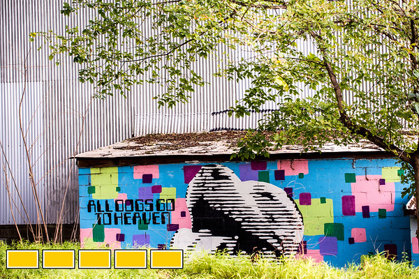 """Along the newly paved portion of the Eastside Trail of the Beltline between Wylie Street and Kirkwood Ave is the Dr. Dax """"All Dogs Go to Heaven"""" mural painted in 2011.  In addition to the newly poured path is lighting and security cameras.  (Jenni Girtman / Atlanta Event Photography)"""