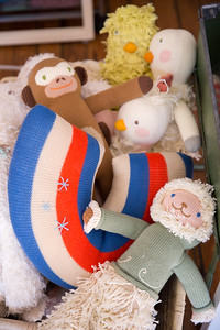 Blabla Kids' studio in Virgina Highlands is where Blabla Kids dolls are designed.  These prototypes will not be added to the line but they were ideas made into samples and now used as reference.  The hand-made, modern, knitted dolls are made of all-natural materials and are whimsical and cuddly.  Blabla sells wholesale to boutiques all over the world.  (Jenni Girtman / Atlanta Event Photography)