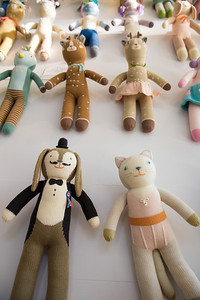 Blabla Kids has a store front and studio in Virgina Highlands. The wall of knit dolls include Balthazar the bunny and Mirabelle the bunny, among dozens of others. The hand-made, modern, knitted dolls are made of all-natural materials and are whimsical and cuddly.  Blabla sells wholesale to boutiques all over the world.  (Jenni Girtman / Atlanta Event Photography)