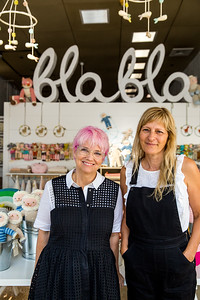 Blabla Kids has a store front and studio in Virgina Highlands where Susan Pritchett, left, and Florence Wetterwald, right, creations are available.  The hand-made, modern, knitted dolls are made of all-natural materials and are whimsical and cuddly.  Blabla sells wholesale to boutiques all over the world.  (Jenni Girtman / Atlanta Event Photography)