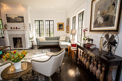 The private Virginia Highlands home of Paul Durick and his roommate Jon Pennycuff is at the corner of Monroe Drive and Amsterdam Ave.  The roommates display sentimental items and an impressive art collection in the Cape Dutch style home.  (Jenni Girtman / Atlanta Event Photography)