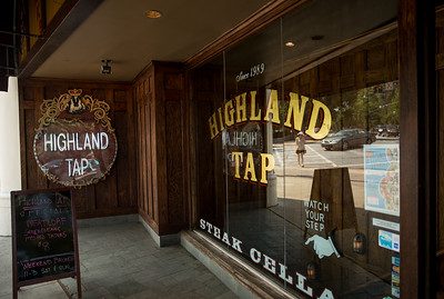 Highland Tap's entry takes you down into the steakhouse.  It is located at the corner of Virginia Avenue and  North Highland Ave.  (Jenni Girtman / Atlanta Event Photography)