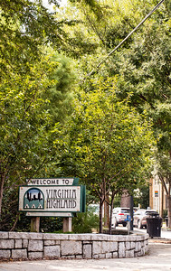 Virginia Highlands at N. Highland Ave and Virginia Ave is busy with restaurants, retail, private homes, apartments and a fire station.  (Jenni Girtman / Atlanta Event Photography)