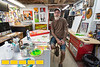 Dirk Hays is an artist with experience in everything from silk-screening to tattooing as well as woodworking and currently painting.  HIs whimsical pieces are directly influenced by pop-culture from the past 50 years.