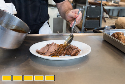 Chef Todd Ginsbergmaking brisket at The General Muir in Atlanta.