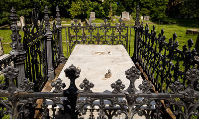 The grave of Emily E. Pittman, a young woman who died in 1852 at the age of 21, is found in the old section of the Decatur Cemetery.  The above ground memorial is protected by iron work, most of which is original to the site.  Pittman's grave has been restored.  (Jenni Girtman / Atlanta Event Photography)