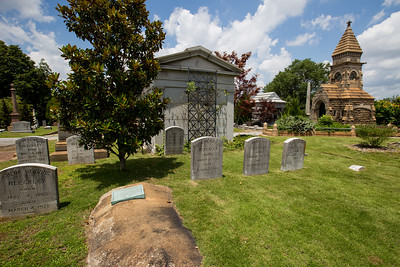 Oakland Cemetery opened in 1850 and it is estimated that 70,000 souls rest in the park.  The continual rennovations and restoration of the sinking headstones and weathered  markers is underway and is unearthing some new information about those found here.  (Jenni Girtman / Atlanta Event Photography)