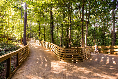 The South Peachtree Creek PATH Extension offers a bike path as well as hiking with the design allowing for bikers and stairways that make good use of the dramatic topography of the area. Access to the extension is from behind Dekalb Tennis Center at Mason Mill Park, 1400 McConnell Drive Decatur, GA 30033, and connects to North Druid Hills Road at Spring Creek Road.  (Jenni Girtman / Atlanta Event Photography)