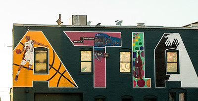 Just off Marietta Street downtown is where this mural is painted on the side of STATS Sports Bar.  It can be seen along the access road to parking for Phillips an sporting events.  (Jenni Girtman / Atlanta Event Photogrpahy)