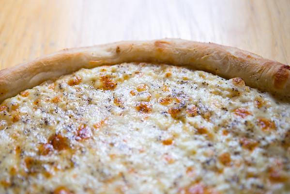Fellini's Pizza on LaVista Road in Decatur makes white pizza with mozzarella cheese, fresh garlic, oregano and ricotta cheese.