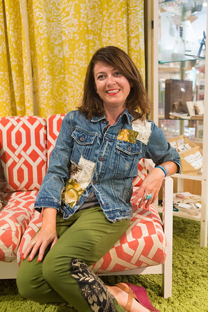 Sarah Scott's upcycled styles are for sale at The Beehive on Caroline St. in the Edgewood Retail District.  Each one-of-kind piece is hand made by piecing together found items from thrift stores and vintage shops.
