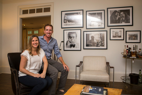 Roberto and Katie Castro pose in the music room, one of their favorite places in their home.