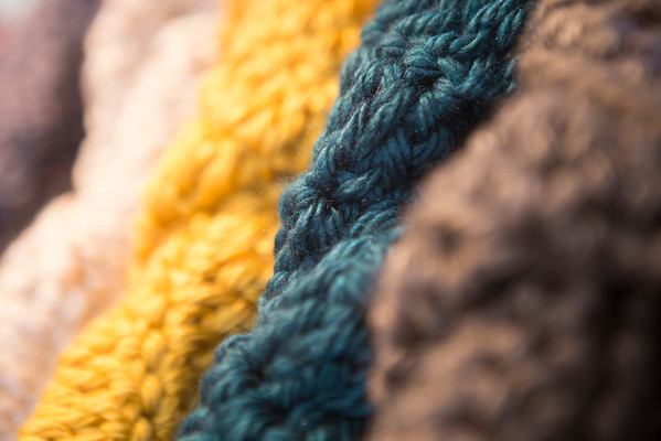 Beth Liversidge sells her chunky crocheted designs at The Beehive on Caroline St. in the Edgewood Retail District.  She makes scarves, shawls, wraps and cowls, some of which are unisex.