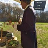 """Bill Brimer, captain of the Billerica Colonial Minute Men, explains how an old English dish called """"Squeak and Pop"""" will be sauteed for lunch. Photo by Mary Leach"""