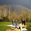Some where under a rainbow stood members of the Billerica Colonial Minute Men who paused from setting up camp at the Marsh Grammar School to enjoy this natural wonder. Pictured (l to r): Bill Brimer of Tewksbury, Rob Sigmon of West Townsend, Richard MacKay of Billerica and Ken Cantrell of Chelmsford. Photo by Mary Leach