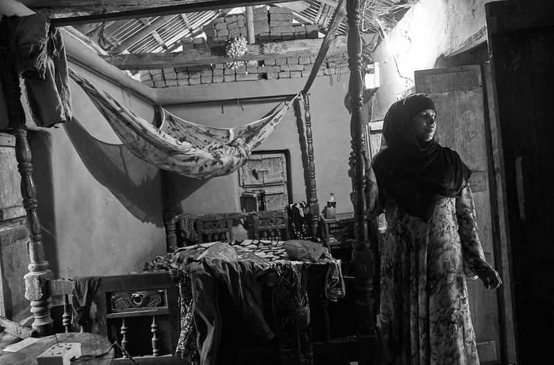 Rajia in her bedroom where she was attacked with acid.