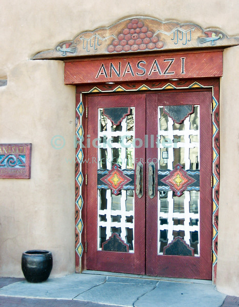"""Santa Fe, New Mexico, USA.  Colorful doors, like this one at the """"Inn of the Anasazi"""" abound in Santa Fe.  © Rick Collier<br /> <br /> <br /> <br /> <br /> <br /> <br /> US USA New Mexico Santa Fe Inn of the Anasazi Inn door colorful decor decoration"""