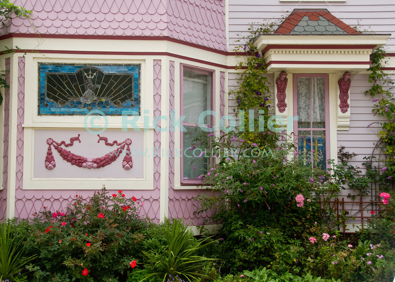 """""""Garden House (roses)"""" - A pastel painted home is """"garnished"""" with flowers and plants of all kinds.  Ocean Grove, New Jersey, USA.<br /> <br /> <br /> <br /> USA """"New Jersey"""" NJ """"Ocean Grove"""" Ocean Grove sidewalk garden flowers wildflowers butterfly bee flower bed flowerbed house home pastel paint trim pink purple vine bush tree plant flower flowers"""