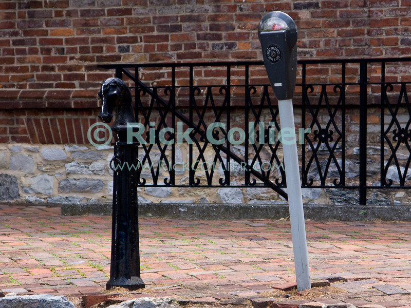 Evolution in hitching posts.  Winchester Virginia, USA.  © Rick Collier