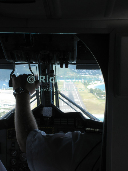 St Maarten -- Final approach into St Maarten on the Winair flight from Saba.  © Rick Collier