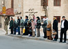 Bus Line, Amman, Jordan.  © Rick Collier<br /> <br /> <br /> <br /> <br /> <br /> <br /> Jordan Amman city coffee shop sign 'street scene' urban bus 'bus stop' line queue
