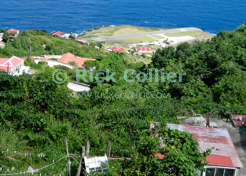Saba - The view to the airport from high on the road.  © Rick Collier