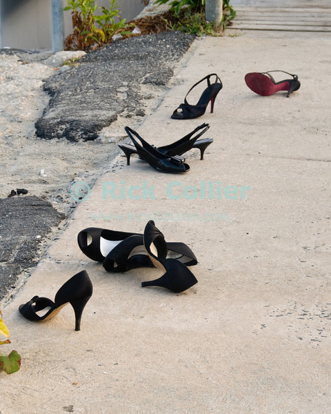 """Shoes"" - Abandoned shoes await a wedding party's return from the beach.  Allenhurst, New Jersey, USA.<br /> <br /> <br /> <br /> USA ""New Jersey"" NJ Allenhurst beach breakwater jetty beach sand shoes romance wedding party marriage"