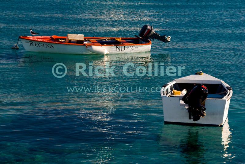 "Kralendijk, Bonaire, Netherland Antilles -- Carefully maintained motor boats dot the harbor anchorage on crystal blue water at Kralendijk.   © Rick Collier<br /> <br /> <br /> <br /> <br /> Bonaire; ""Netherlands Antilles""; Caribbean; tropic; tropical; vacation; destination; Kralendijk; boat; ramp; waterfront; jetty; mooring; harbor; dock; sea; ocean; view; boat; motorboat; dingy; ""work boat""; water"