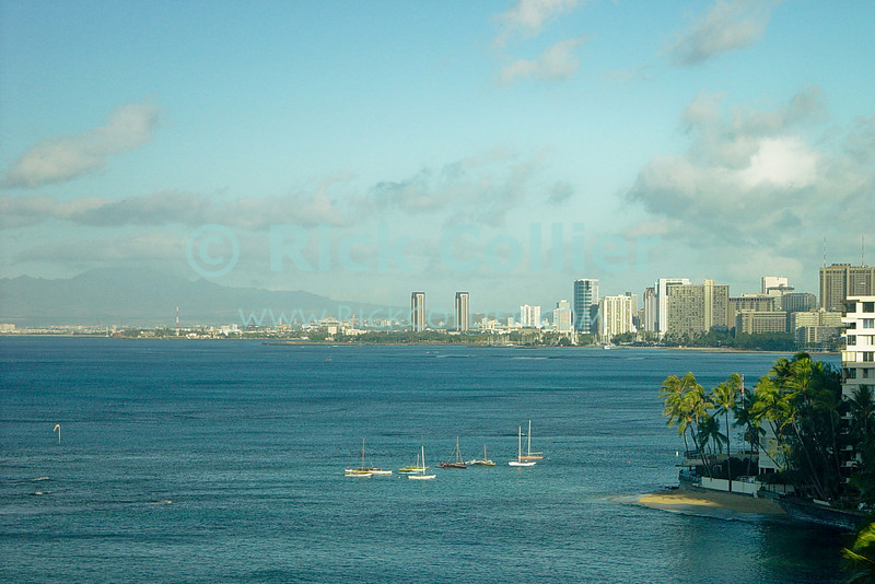 The view of Honolulu and Waikiki from near Diamond Head.  Honolulu, Oahu, Hawaii.  © Rick Collier<br /> <br /> <br /> <br /> <br /> <br /> <br /> Hawaii Hawai'i Oahu Honolulu Waikiki skyline bay boats