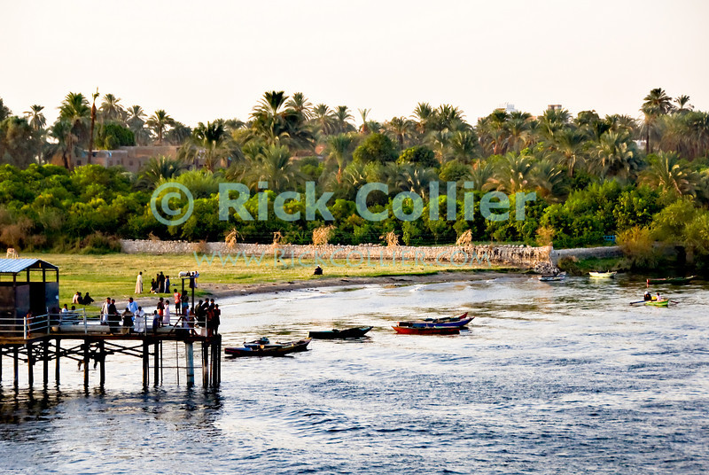 "Nile River, Egypt -- Townspeople gather on the local dock to wait for a cruise boat to pull in (near Luxor, Egypt). © Rick Collier / RickCollier.com.<br /> <br /> <br /> <br /> travel; vacation; tour; tourism; tourist; destination; Egypt; Nile; ""Nile River""; boat; boats; play; splash; swim; riverbank; shore; pier; dock;"