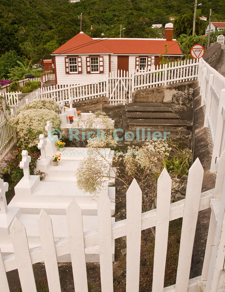 Saba - Many homes in Saba have their own traditional graveyard plot nearby.  Windwardside, Saba.  © Rick Collier