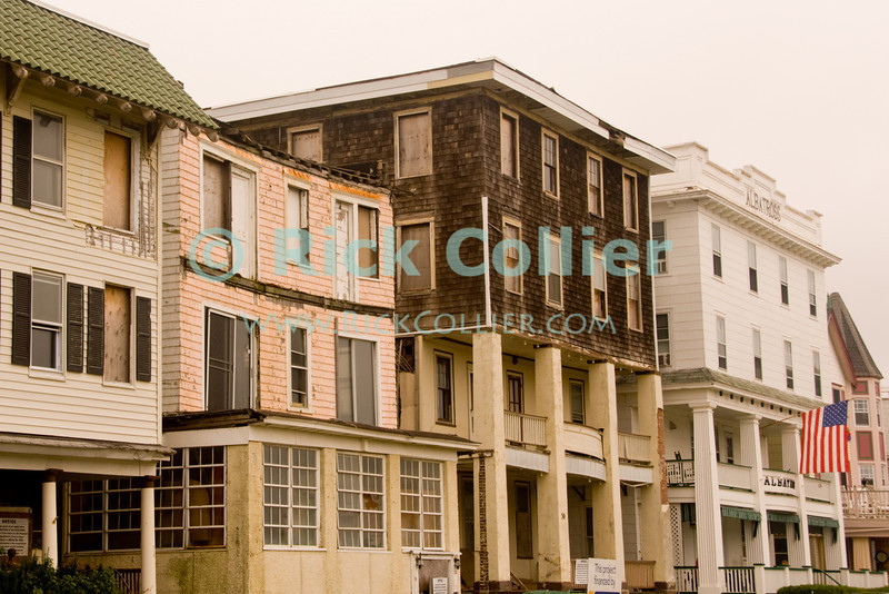 """Old Town"" - Old, broken buildings at the center of Ocean City, New Jersey, USA.<br /> <br /> <br /> USA ""New Jersey"" NJ ""Ocean Grove"" Ocean Grove apartments buildings city center main street"