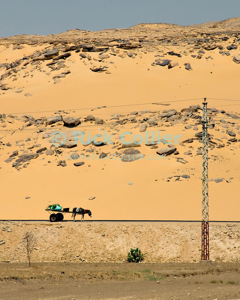 """Nile River, Egypt -- A donkey cart sits by the side of the road by the desert.  The owner / driver is nowhere in sight. © Rick Collier / RickCollier.com.<br /> <br /> <br /> <br /> travel; vacation; tour; tourism; tourist; destination; Egypt; donkey; cart; """"donkey cart""""; road; dune; sand; desert;"""
