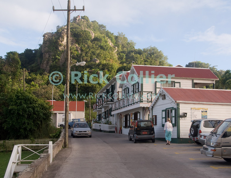Saba - The road, leading to Scout's Place in Windwardside, with the promontory of the English quarter behind.  © Rick Collier