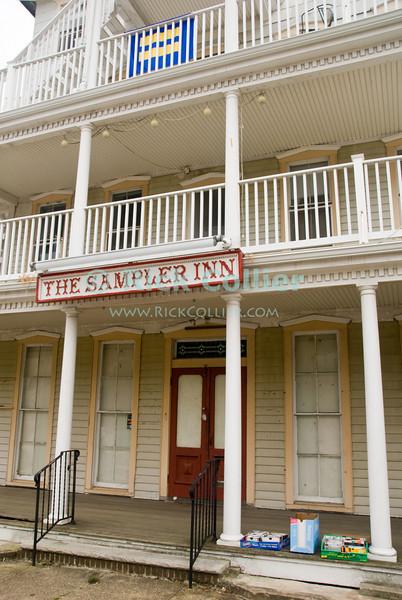"""""""Sampler Inn""""  Ocean Grove, New Jersey, USA<br /> <br /> <br /> USA """"New Jersey"""" NJ """"Ocean Grove"""" Ocean Grove sidewalk """"Sampler Inn"""" renovation repair work empty"""