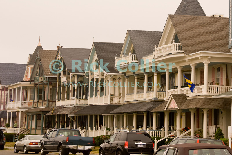 """Beach Block"" - Nicely kept houses line a beach-block street at Ocean Grove, New Jersey, USA.<br /> <br /> <br /> USA ""New Jersey"" NJ ""Ocean Grove"" Ocean Grove sidewalk houses homes vacation summer beach block yard power lines neat decor"