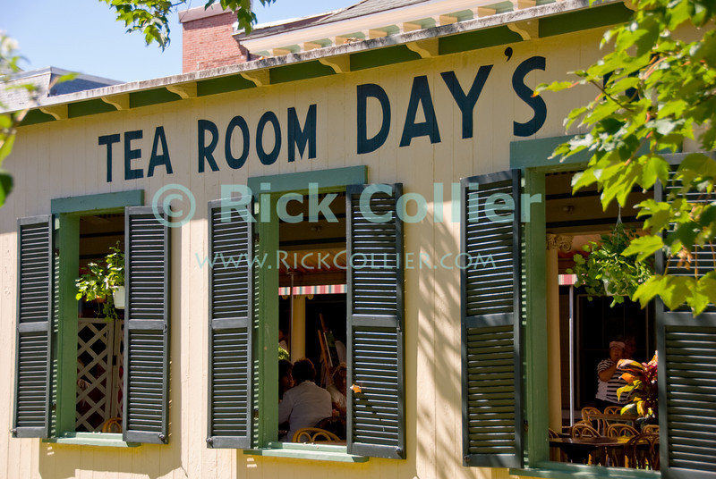 """Day's Tea Room"" - A well-known gathering place.  Ocean Grove, New Jersey, USA.<br /> <br /> <br /> USA ""New Jersey"" NJ ""Ocean Grove"" Ocean Grove sidewalk restaurant ""tea room"" tea window windows"
