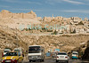 The Crusader Castle at Karak dominates the small town around it.  © Rick Collier<br /> <br /> <br /> <br /> <br /> Jordan Karak al-Karak castle crusader crusades knights fort fortress history historic tourist tourism antiquities valley wadi battlement battlement 'Kingdom of Jerusalem' village town arab street highway desert