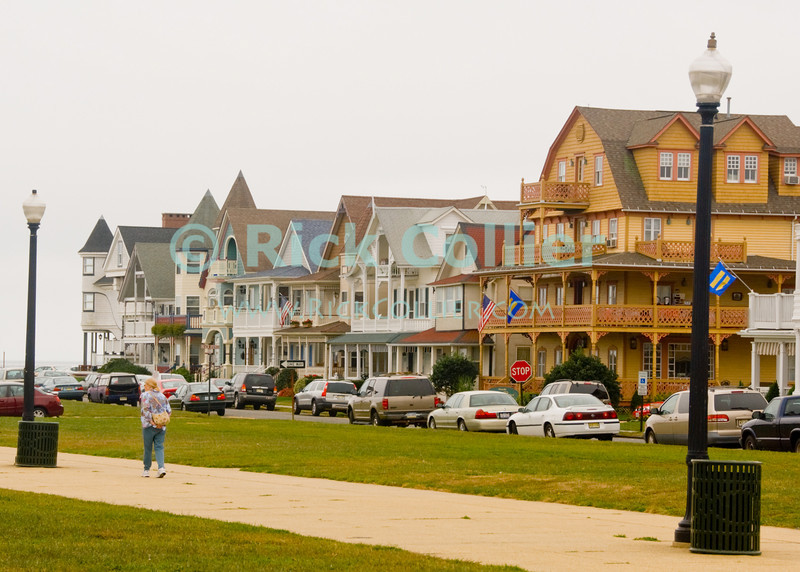 """Beach Block"" - Nicely kept houses line a beach-block street at Ocean Grove, New Jersey, USA.<br /> <br /> <br /> USA ""New Jersey"" NJ ""Ocean Grove"" Ocean Grove sidewalk houses homes vacation summer beach block yard neat decor yard path walk walker light street streetlight lamp"