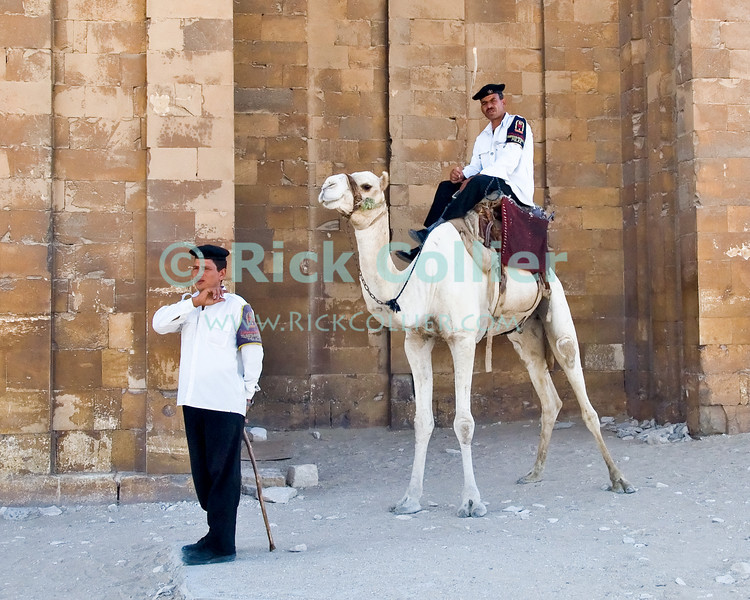 """Saqqara, Cairo, Egypt -- Policemen wait in the shade at the end of the day for the last tourists to leave so that they can close the precincts of the famous Step Pyramid of Djoser. © Rick Collier / RickCollier.com.<br /> <br /> <br /> <br /> <br /> <br /> travel; vacation; tour; tourism; tourist; destination; Egypt; Cairo; Saqqara; Djoser; Dozer; pyramid; """"step pyramid""""; pyramids; police; policemen; camel;"""