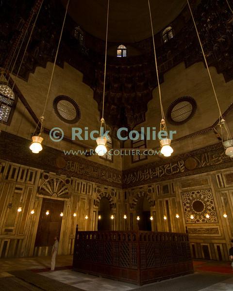 """Cairo, Egypt -- Inside the mausoleum of the Sultan Hassan mosque.   © Rick Collier / RickCollier.com<br /> <br /> <br /> <br /> travel; vacation; tour; tourism; tourist; destination; Egypt; Cairo; mosque; madrassa; Sultan; Hassan; """"Sultan Hassan""""; mausoleum;"""