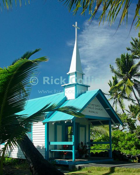 """Kona Church"" -- A small Catholic church stands amid the palm trees near the public beach at Kahaluu.  Kona, the Big Island, Hawaii.<br /> <br /> <br /> <br /> <br /> <br /> <br /> Hawaii Hawai'i Kahaluu big island Kona palm tree Saint Peter's Catholic Church"
