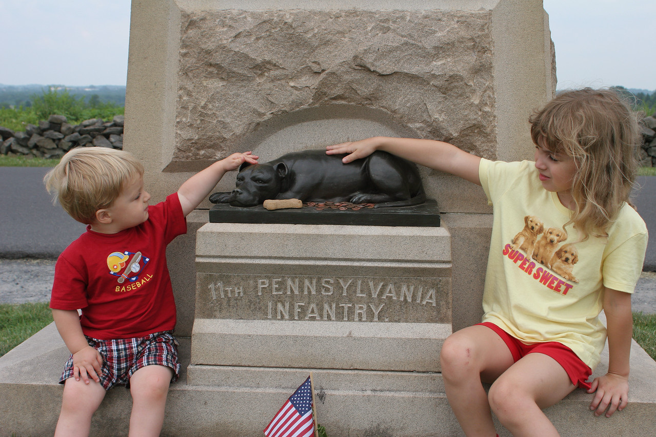 Backside of the 11th Pennsylvania Monument - honoring its beloved mascot.