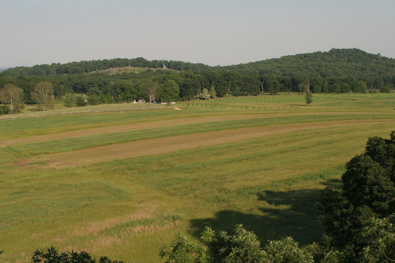 View of the Round Tops from the Seminary Ridge observation tower.