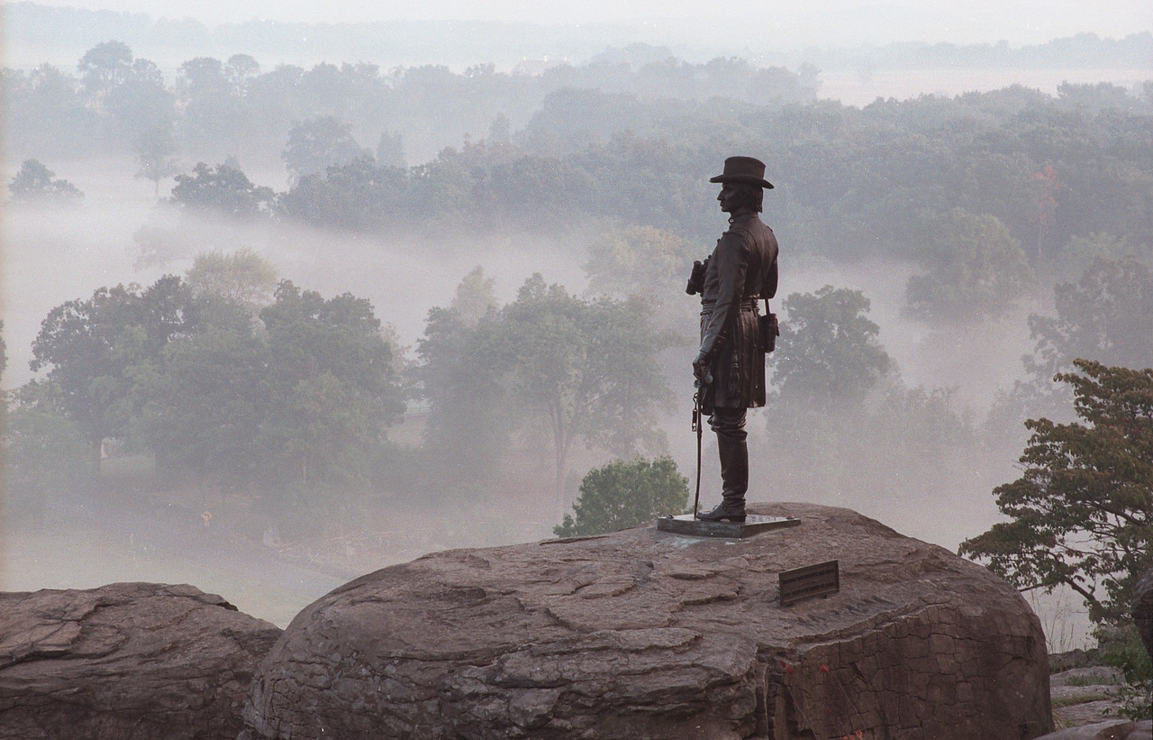 Gouverneur K. Warren statue on Little Round Top - this engineer played a key role in making sure the hill was defended just in time.